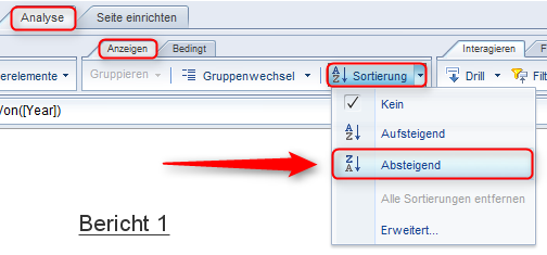 SAP BusinessObjects Web Intelligence - Datenordnung