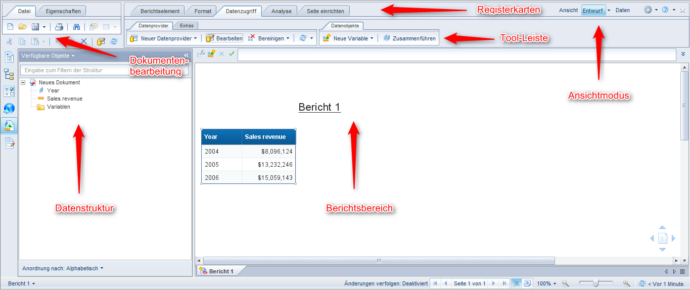 SAP BusinessObjects Web Intelligence - Oberfläche