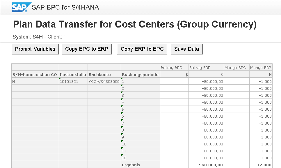 Schnelleinstieg in SAP BPC optimized for SAP S/4HANA - Planungsmappe