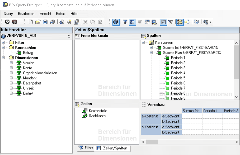 Schnelleinstieg in SAP BPC optimized for SAP S/4HANA - Query Designer